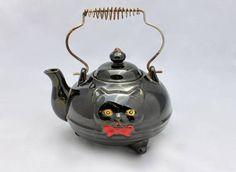 Vintage Shafford of Japan Redware Black Cat Footed Tea Pot