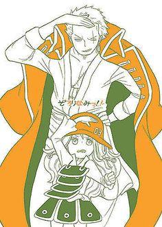 Chibi Nami and Zoro