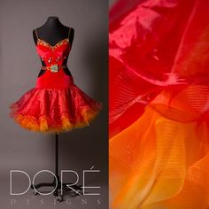Red Velvet Latin w/ Stoned Strings & Stoned Bustline & Belt w/ Red Orange and Yellow Layered Organza Skirt