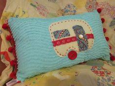Vintage Trailer Pillow Vintage Trailer Decor by flutterbeforeyou