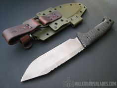 Miller Bros. Blades M-8 in CPM 3V This model is also available in Z-Wear PM,  CPM S35VN, Z-Tuff PM and 5160 steels Miller Bros. Blades Custom Handmade Knives, Swords & Tomahawks.