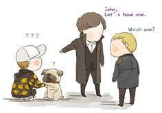 Kingsman crossover sherlock holmes. That's the reason why John have a pugdog ... Lol