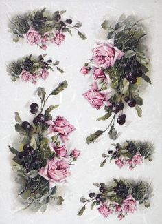 Rice Paper for Decoupage Decopatch Scrapbook Craft Sheet Vintage Pink Roses