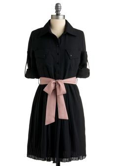 I already have a black t-shirt dress, but I love how this combines that with a more dressy, flowy bottom half and a pop of color in the bow. Modcloth wins.