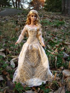 """Aesilinn"" Royal Bride Medieval Renaissance Fantasy Repaint/Hair Restyle Barbie Doll & Couture Wedding Gown - by Morgan May @ Stardust Dolls - http://www.stardustdolls.com"