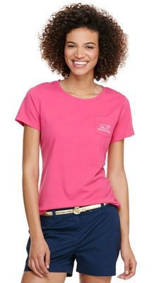Short-Sleeve Embroidered Ikat Dot Whale Pocket Tee