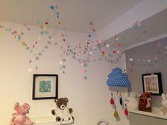 Süße Träume unterm Sternenhimmel. Schnell gebastelt und genäht. Zauberhafte Sternchen-Girlande fürs Kinderzimmer. Sterne aus Pappe ausstanzen und mit der Nähmaschine zur Girlande nähen.