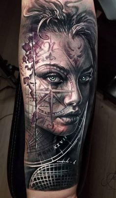 Awesome 2 colors realistic tattoo style of Girl face motive done by artist Arlo DiCristina Tattoos Girl Face Tattoo, Face Tattoos, Best Sleeve Tattoos, Tattoo Sleeve Designs, Tattoo Girls, Forearm Tattoos, Body Art Tattoos, Tattoo Arm, Armor Tattoo