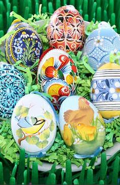 Traditional hand painted chicken eggs from Slovakia