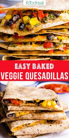 Vegetarian Quesadilla with black beans, veggies and moderate amount of cheese tucked inside a whole wheat tortilla and then baked. Or turn into a freezer meal for busy weeknights. Easy, cheesy, healthy and tasty. Quesadillas, Veggie Quesadilla, Vegetarian Quesadilla, Quesadilla Recipes, Delicious Crockpot Recipes, Healthy Dinner Recipes, Mexican Food Recipes, Healthy Snacks, Vegetarian Recipes