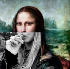 Mona Lisa on a smoke break. Photomontage, Arte Dope, Mona Lisa, Tumblr Wallpaper, Statue, Psychedelic Art, Surreal Art, Aesthetic Art, Belle Photo