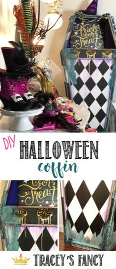 How fun is this DIY painted coffin? Check out how I created this Halloween party prop! - By Tracey's Fancy Decor Style Home Decor Style Decor Tips Maintenance Halloween Photo Props, Halloween Fotos, Halloween Coffin, Diy Halloween Decorations, Halloween Halloween, Diy Home Decor On A Budget, Diy Painting, Painting Tutorials, Holiday Crafts