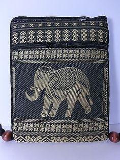 THAI HOBO PURSE ELEPHANT PASSPORT UNISEX WALLET SLING BAG 2 ZIPPER BLACK