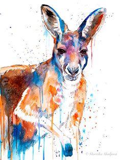 Kangourou aquarelle impression par Slaveika Aladjova art | Etsy