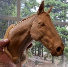A wooden horse head sculpture. I sculpted this in zbrush and printed the sculpt with colorfabb wood filament. Horse Sculpture, Animal Sculptures, Horse Head, Horse Art, Chip Carving, Wood Carving, 3d Modeling Programs, Wooden Horse, 3d Prints