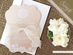 SAMPLE: Champagne & Lace Ornate Die Cut by AnnaHatcherDesign