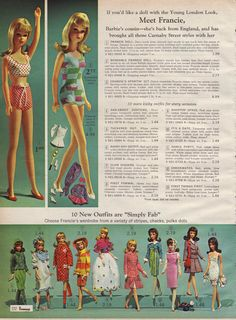 Francie, From the 1966 JCpenny catalog.Francie was okaaaay, but certainly not Barbie. Childhood Toys, Childhood Memories, Retro, Barbie Family, Poppy Parker, Vintage Barbie Dolls, Mattel Barbie, Barbie Collector, Barbie Friends