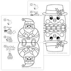 Fichier PDF téléchargeable En noir et blanc seulement 2 pages  Voici un petit bricolage qui permet aux enfants de développer leurs habiletés de découpage et de coloriage. Vous pouvez faire un trou dans les décorations et les suspendre dans votre classe, elles seront belles des deux côtés! Christmas Cards Drawing, Christmas Tree Cards, Christmas Colors, Christmas Themes, Christmas Fun, Christmas Decorations, Christmas Ornaments, Christmas Arts And Crafts, Xmas Crafts