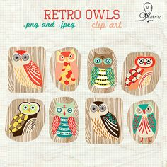 Retro Owls clip art by bucketscrap23 on Etsy