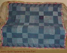 quilt Denim Quilt - Jean Quilt I Made Denim Quilts, Denim Quilt Patterns, Blue Jean Quilts, Flannel Quilts, Quilting Projects, Sewing Projects, Red Blanket, Picnic Quilt, Tejidos