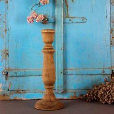Sfeervolle houten kandelaar, bruin 25 cm