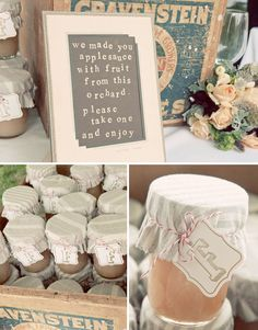 Perfect way to decorate canned-good wedding favors! The sign is fabulous too.