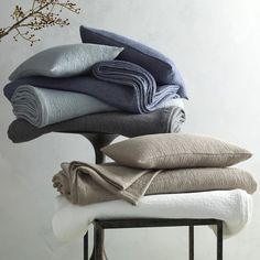 Matouk ‐ Matouk Pacific Stone-Washed Coverlet | Pioneer Linens ‐ Pioneer Linens Percale Sheets, Sateen Sheets, Bed Styling, Bedding Collections, Bed Design, Pillow Shams, Throw Pillows, Luxury Linens, Cotton