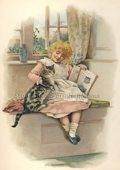 Kitty's Picture ~ Children, Cats ~ Counted Cross Stitch Pattern #StoneyKnobFarmHeirlooms #CountedCrossStitch