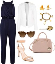 Business Casual Outfits for Women - Navy Jumpsuit with a white blazer.