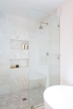 White and Gold Marble Horizontal Shower Wall Tiles - Transitional - Bathroom