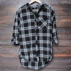 d239f39280 black + grey plaid flannel shirt with detachable hood