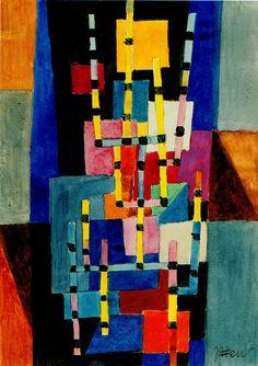 Itten Flächen und Stäbe (Areas and bars) 1955 Aquarell auf Papier 25 x cm New Project Ideas, Art File, Cubism, Bauhaus, New Art, Surrealism, Modern Art, Abstract Art, Symbols