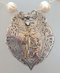 ENGLISH-Silver-LUGGAGE-TAG-FOB-with-BRONZE-Dancing-CHERUB-Lady-PEARLS-Necklace
