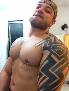 Tattooed Stud With Pierced Nipples Jerking Off