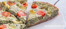 Deze gezonde versie van een quiche heeft een bodem van speltdeeg en een vulling van spinazie en magere yoghurt