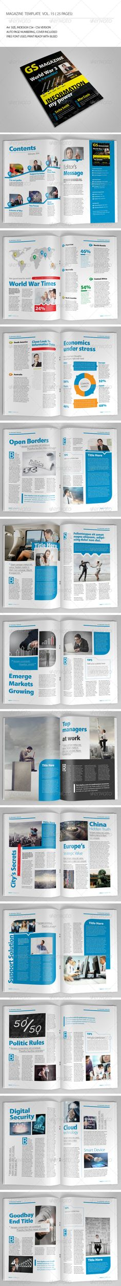 25 Pages Magazine Template Vol15: This item consist of 25 pages that fully editable and customizable.Detail :25 pages Size A4 (8.2