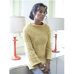 Update the regular pullover with this sophisticated sweater with a simple ribbed yoke detail. (Lion Brand Yarn)