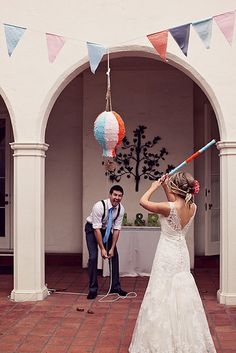A Wedding Pinata! A totally different and fun take to wedding activities. Beat it till it explodes and candy comes flying out. Fill it with any favours tickle your fancy. Wedding Reception Games, Wedding Pics, Trendy Wedding, Summer Wedding, Dream Wedding, Wedding Day, Wedding Dresses, Wedding Venues, Wedding Couples