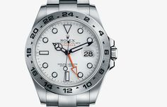 I love the subtly graphic hands and the touch of orange... Rolex Explorer II