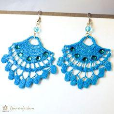 Fanshapted lace earrings deep sky blue by OrientalColour, $6.80