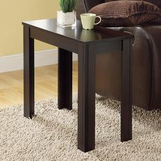 Monarch Rectangular Cappuccino Wood Accent Side Table - I 3111