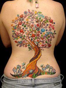 colorful tree tattoos