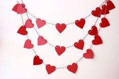 Valentines Day Decor, Valentine Garland, Wedding Garland, Heart Banner, Valentine Photo Prop, Paper Heart Garland, Red Heart Garland
