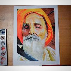 here's an amazing watercolour painting by my brother from the UK @dhanjalart highlighting Bapu Surat Singh Ji's struggle to free Sikh political prisoners. #BapuSuratSingh #FreeSikhPoliticalPrisoners #ArtForJustice #watercolor #gouache #portrait #sikh #sikhi #sikhs #punjab #india @dhanjalart