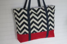 Chevron Zippered Tote Bag Waterproof Bottom Navy and Red Teachers Tote Ladies Gift Bridal Party