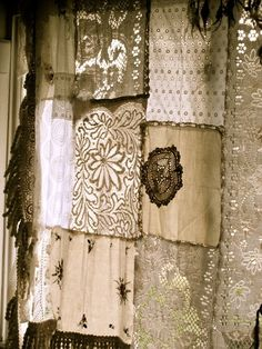 Patchwork Shabby Chic Farmhouse Curtain - made from scraps of vintage tablecloths and lace - via Gypsy River Crochet Curtain Pattern, Crochet Curtains, Curtain Patterns, Lace Curtains, Pattern Curtains, Vintage Curtains, Curtain Ideas, White Curtains, Baños Shabby Chic