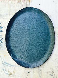 Image of Grey Blue Oval Platter #2