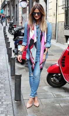 The scarf pulls together the color of shoes and bag. Shoes and bag are of equal polish...and the polish level of the accessories is a notch up from the distressed jeans and top. Just enough contrast. Just enough coordination. Nothing matchy matchy.