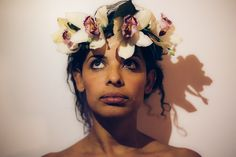 Elegant Flower Crown, taken by CarlyZavala Photography at Mott St. NYC. Did you notice there is a dragon shadow?!