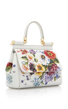 Dauphine Sicily Hand-Painted Leather Bag by Dolce & Gabbana Womens Designer Purses, Painted Bags, Hand Painted, Dolce & Gabbana, Fashion Bags, Floral Fashion, Painting Leather, Vintage Purses, Divas